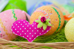 Decorative painted easter eggs on  table Stock Photo