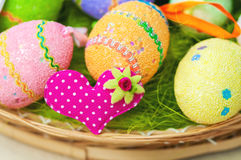 Decorative painted easter eggs on  table Stock Photos