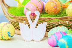 Decorative painted easter eggs on  table Royalty Free Stock Image
