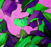 Decorative painting with leaves on violet background, illustrati. On, pattern Stock Image
