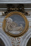 Decorative painting in Rome. Painting in the Basilica of St. Mary of the Altar of Heaven in Rome Royalty Free Stock Photos