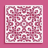 Cutout paper ornament, lace pattern. Decorative panel with lace pattern, square ornament for laser cutting or wood carving, cutout paper decorative element Stock Image