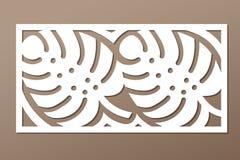 Decorative panel laser cutting. wooden panel. Elegant modern monstera pattern. Tree leave. Stencil. Ratio 1:2. Vector illustration Royalty Free Stock Photography