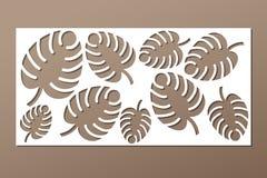 Decorative panel laser cutting. wooden panel. Elegant modern monstera pattern. Tree leave. Stencil. Ratio 1:2. Vector illustration Stock Photography