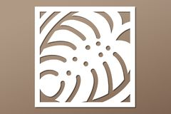 Decorative panel laser cutting. wooden panel. Elegant modern monstera pattern. Tree leave. Stencil. Ratio 1:1. Vector illustration Royalty Free Stock Photo