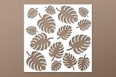 Decorative panel laser cutting. wooden panel. Elegant modern monstera pattern. Tree leave. Stencil. Ratio 1:1. Vector illustration Stock Image