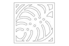 Decorative panel laser cutting. wooden panel. Elegant modern monstera pattern. Tree leave. Stencil. Ratio 1:1. Vector illustration Stock Photography