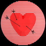 Decorative panel target designed like a heart with arrows. 3D illustration. Royalty Free Stock Image