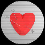 Decorative panel target designed like a heart with arrows. 3D illustration. Royalty Free Stock Photo