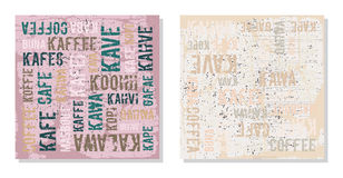 Decorative panels coffee in different languages Stock Images