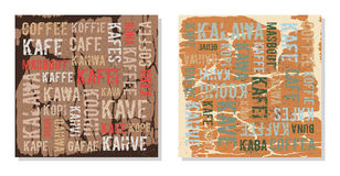 Decorative panels coffee in different languages Stock Photo