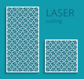 Decorative panels with cutout lace pattern. Elegant panels with lace pattern, swirly lattice ornament, template for laser cutting or wood carving, cutout paper Royalty Free Stock Photos