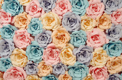 Decorative paper flowers. Colorful flowers paper background pattern lovely style Stock Photo