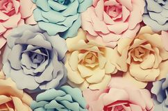 Decorative paper flowers. Colorful flowers paper background pattern lovely style Royalty Free Stock Photo
