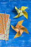 Decorative paper pinwheel Stock Photography