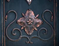 Decorative parts of metal gates, elements of hand forging.  Royalty Free Stock Photography