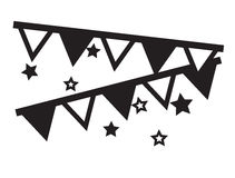 Decorative party flags hanging with stars icons vector Stock Photography