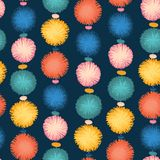 Party pom poms seamless repeat vector pattern stock illustration