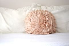 Decorative pastel bedroom pillow Royalty Free Stock Photography