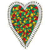Decorative patchwork heart with a bright colorful pattern on a white background Stock Images