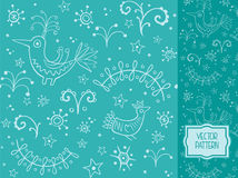 Decorative pattern with birds and plant elements. Vector pattern for packaging, advertising, printed products and websites as a background for the holidays and Royalty Free Illustration