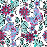 Decorative pattern with floral ornament  and butterflies Stock Photography