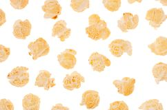 Decorative pattern of flying popcorn closeup, isolated on white background. Decorative pattern of flying popcorn closeup, isolated on white background Stock Images