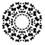 Decorative pattern frame with butterflies on white background Royalty Free Stock Photo