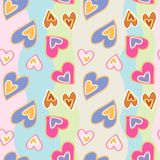 Decorative pattern with hand drawn hearts on colored stripes. Seamless vector pattern royalty free illustration