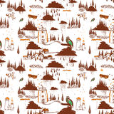 Drawning pattern orange, brown and blue Royalty Free Stock Photos