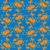 Decorative pattern with pumpkin. And pumpkin burgeon on a blue background Royalty Free Stock Photos