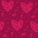 Decorative pattern of purple hearts Stock Images
