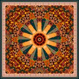 Decorative pattern in shape of wheel in motion on ornamental background. Ethnic style. Bandana print, carpet, wrapping design.  vector illustration