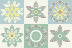 Decorative pattern with stylish flowers and floral elements Stock Images