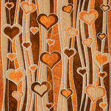 Decorative pattern - waves decoration - Romantic hearts - seamle Royalty Free Stock Images