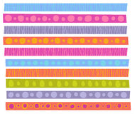 Decorative patterns collection in cheerful color over white Royalty Free Stock Photos