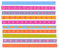 Decorative patterns collection in cheerful color over white Royalty Free Stock Image
