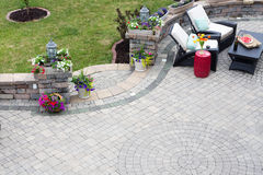 Decorative paving on an outdoor patio Royalty Free Stock Images