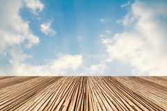Decorative paving wooden in blue sky Royalty Free Stock Photography