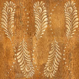 Decorative peacock feathers - wood texture - seamless background Royalty Free Stock Photos