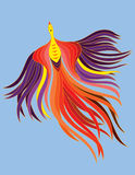 A decorative phoenix. With beautiful flowing feather royalty free illustration