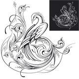 Decorative phoenix fairy on a flower ornament vector illustratio. N Royalty Free Stock Photography