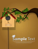 Decorative picture cards bird house Royalty Free Stock Photo