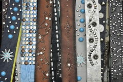 Decorative Pile of Leather Belts Royalty Free Stock Photography