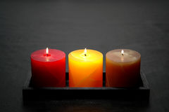 Decorative Pillar Candles Burning Stock Photography