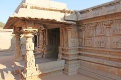 Decorative pillars from granite in mandappa or Hall. Hazara Rama royalty free stock photos