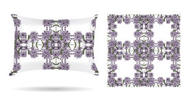 Decorative pillow with floral patterned pillowcase in an elegant, gentle style on a white background. Isolated on white. Interior Stock Photos