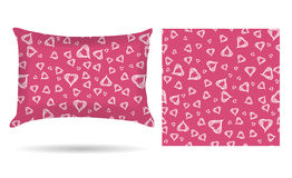 Decorative pillow with hearts pillowcase in an elegant, gentle style on a pink background. Isolated on white. Interior design elem Stock Photo