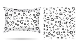 Decorative pillow with hearts pillowcase in an elegant, gentle style on a white background. Isolated on white. Interior design ele Stock Photos
