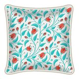 Decorative pillow. Interior design element: Decorative pillow with patterned pillowcase (natural floral pattern). Isolated on white. Vector illustration Royalty Free Stock Photos